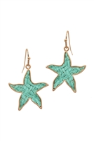 A3-3-4-EE0970WGTQS- STRAW STARFISH SEALIFE HOOK EARRINGS-TURQUOISE/6PCS