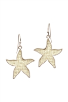 A3-3-3-EE0970WSIVY- STRAW STARFISH SEALIFE HOOK EARRINGS-IVORY/6PCS