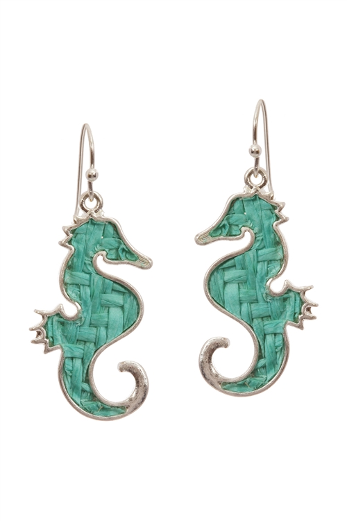 A3-3-4-EE0972WSTQS- STRAW SEALIFE SEAHORSE FISH HOOK EARRINGS-TURQUOISE/6PCS