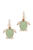 A3-3-3-EE0973WGGRN- STRAW TURTLE SEALIFE FISH HOOK EARRINGS-GREEN/6PCS