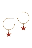A2-2-2-EE1085GDMLT- METAL EPOXY SEA LIFE STAR FISH HOOP ROUND EARRINGS/6PCS