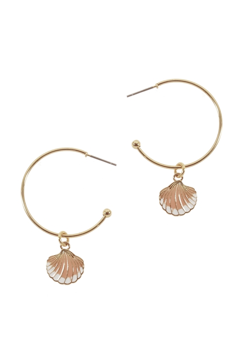 A3-2-4-EE1268GD-PCH- METAL EPOXY SEASHELL HOOP ROUND EARRINGS-PEACH/6PCS