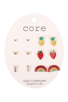 S1-6-3-EE2768GD-6 SET COLORFUL EARRINGS/6PCS