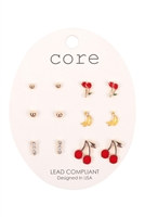 S1-6-3-EE2769GD-6 SET COLORFUL  EARRINGS/6PCS