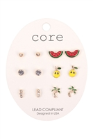 S1-6-3-EE2771GD-6 SET COLORFUL EARRINGS/6PCS