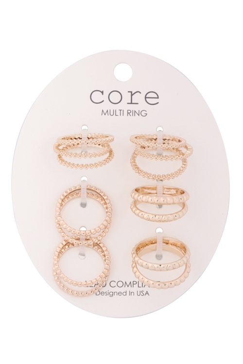 S1-3-1-ER4346GD-6 SET TEXTURED RINGS-GOLD/6PCS