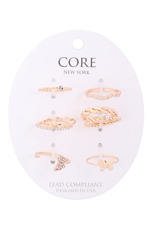 S1-5-2-ER4361GD - 6 SET TWIST CURVE CUBIC  ZIRCONIA ASSORTED RING SET /6PCS