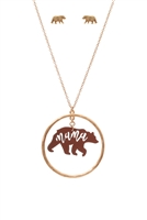 S1-7-3-ES1636WGBRN - LEATHER BEAR METAL PENDANDT NECKLACE AND EARRINGS SET-MATTE GOLD BROWN/6PCS
