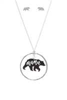 S1-7-3-ES1636WSBLK - LEATHER BEAR METAL PENDANDT NECKLACE AND EARRINGS SET-MATTE SILVER BLACK/6PCS