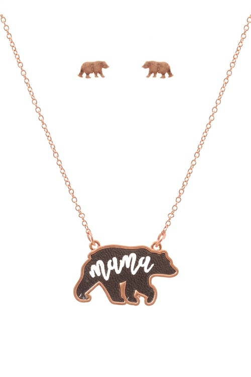 S1-7-3-ES1637RGHMT - LEATHER BEAR METAL CHAIN PENDANT NECKLACE AND EARRING SET-ROSE GOLD HEMATITE/6PCS