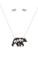 S1-7-3-ES1637WSBLK - LEATHER BEAR METAL CHAIN PENDANT NECKLACE AND EARRING SET-MATTE SILVER BLACK/6PCS