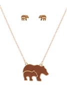 S1-5-4-ES1638WGBRN-LEATHER MAMA BEAR & CAB METAL PENDANDT NECKLACE AND EARRINGS SET-MATTE GOLD BROWN/6PCS
