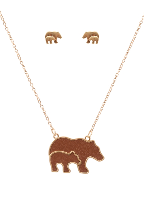 S1-5-4-ES1638WGBRN-LEATHER MAMA BEAR & CUBS METAL PENDANDT NECKLACE AND EARRINGS SET-MATTE GOLD BROWN/6PCS