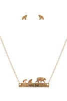 S1-7-3-ES1640WG - METAL BEAR BAR NECKLACE AND EARRING SET-MATTE GOLD/6PCS