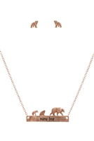 S1-7-3-ES1640WRG - METAL BEAR BAR NECKLACE AND EARRING SET-MATTE ROSE  GOLD/6PCS