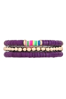 S29-4-3-FB1753GDPUR - FIMO METAL MULTI  ELASTIC BRACELET-PURPLE/6PCS