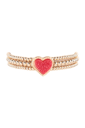 S21-6-2-FB1854GDRED -  DRUZY CCB HEART VALENTINE ELASTIC BRACELET- GOLD RED/6PCS