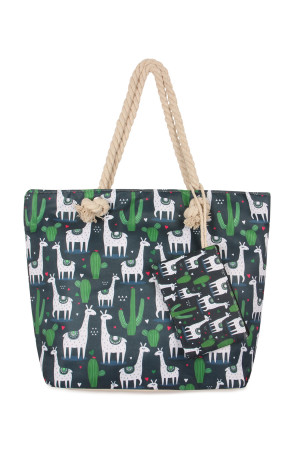 S7-5-5-AFC0072-2 NAVY LLAMA DIGITAL PRINTED TOTE BAG/6PCS