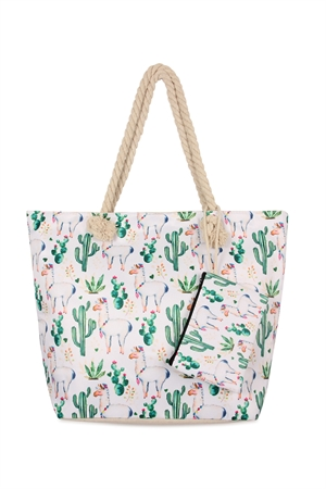 S7-4-5-AFC0072-3 WHITE LLAMA DIGITAL PRINTED TOTE BAG/6PCS