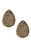S1-3-2-FE1918GDBRN - DRUZY TEARDROP POST EARRINGS - BROWN /6PCS