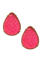 S25-2-3-FE1918GDFSH - DRUZY TEARDROP POST EARRINGS - FUCHSIA/6PCS