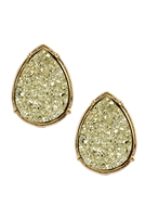 A1-2-3-FE1918GDGD - DRUZY TEARDROP POST EARRINGS - GOLD/6PCS