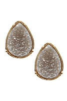 S17-12-2-FE1918GDGRY - DRUZY TEARDROP POST EARRINGS - GRAY/6PCS