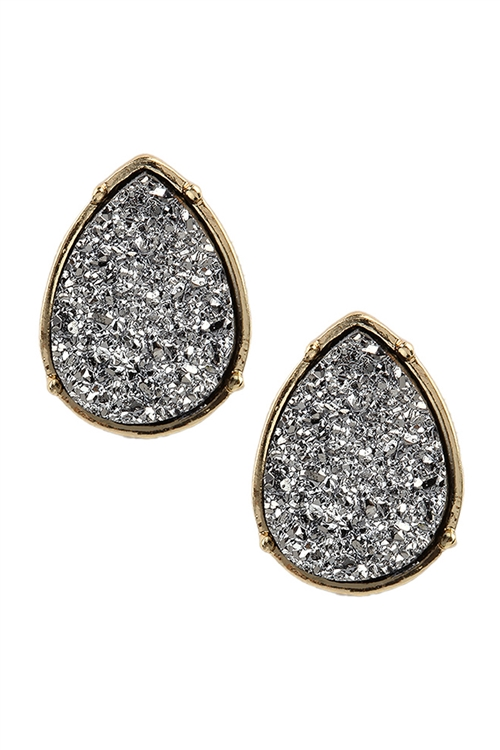 S17-12-2-FE1918GDHMT - DRUZY TEARDROP POST EARRINGS - HEMATITE/6PCS
