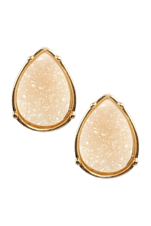 A1-2-3-FE1918GDIVY - DRUZY TEARDROP POST EARRINGS - IVORY/6PCS