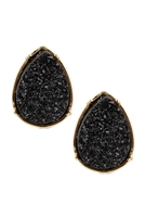 S25-2-3-FE1918GDJT - DRUZY TEARDROP POST EARRINGS - BLACK/6PCS