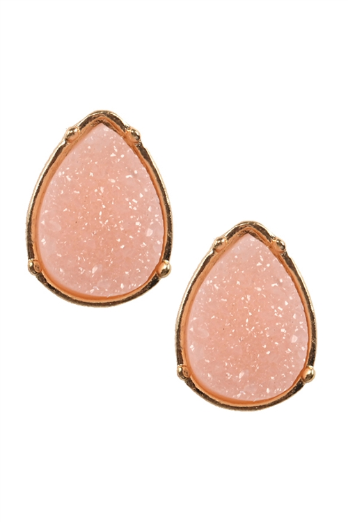 A1-2-3-FE1918GDLPK - DRUZY TEARDROP POST EARRINGS - LIGHT PINK/6PCS