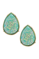 A1-2-3-FE1918GDMIN - DRUZY TEARDROP POST EARRINGS - MINT/6PCS