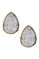 S17-12-2-FE1918GDRD - DRUZY TEARDROP POST EARRINGS - SILVER/6PCS