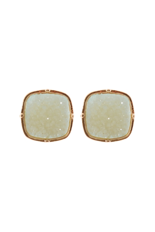 A1-2-4-FE1919GDMI3 - DRUZY POST SQUARE EARRINGS - LIGHT MINT/6PCS