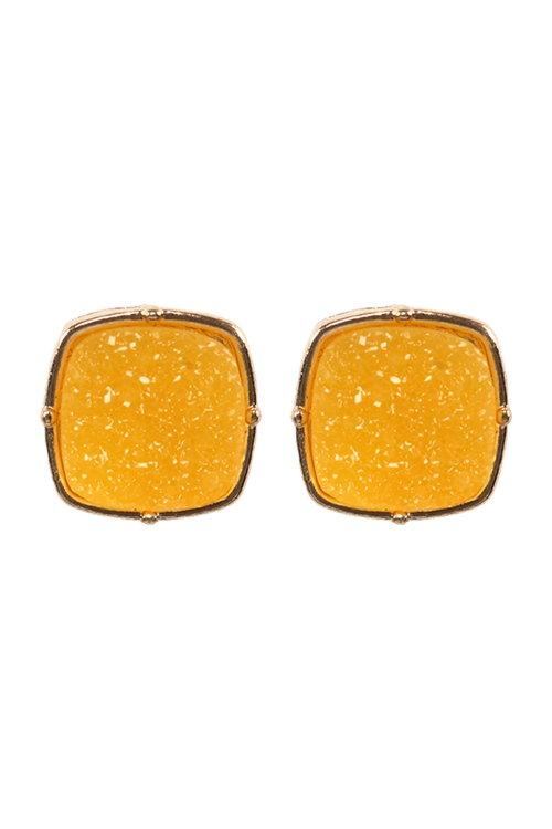 A1-2-4-FE1919GDYEW - DRUZY POST SQUARE EARRINGS - YELLOW/6PCS