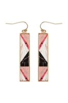 237-I-FE4449WGPNK - CELLULOID PATTERN FISH HOOK RECTANGLE EARRINGS - PINK/6PCS