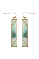 237-I-FE4449WGTLG - CELLULOID PATTERN FISH HOOK RECTANGLE EARRINGS - TEAL/6PCS