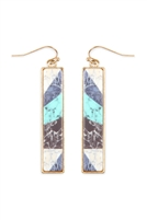 237-J-FE4449WGTQS - CELLULOID PATTERN FISH HOOK RECTANGLE EARRINGS - TURQUOISE/6PCS
