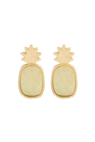 S23-11-2-FE5482GDMI3 - METAL DRUZY PINEAPPLE POST EARRINGS - MINT/6PCS