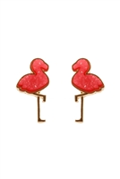 S1-3-2-FE5483GDFSH - METAL DRUZY FLAMINGO POST EARRINGS - FUCHSIA/6PCS