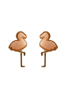 S23-11-2/S23-10-3-FE5483GDLPK - METAL DRUZY FLAMINGO POST EARRINGS - LIGHT PINK/6PCS