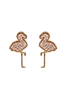 S1-3-2-FE5483GDRG - METAL DRUZY FLAMINGO POST EARRINGS - ROSE GOLD/6PCS