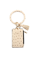 S21-4-3-FK0184GDIVY  - OSTRICH ID CARD KEYCHAIN - IVORY/6PCS