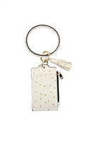 S21-4-3-FK0184GDWHT  - OSTRICH ID CARD KEYCHAIN - WHITE/6PCS
