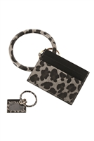 S23-11-3-FK0204GDBLK - LEATHER ANIMALPRINT IDCARD KEYCHAIN - BLACK/6PCS