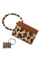 S23-11-3-FK0204GDBRN - LEATHER ANIMALPRINT IDCARD KEYCHAIN - BROWN/6PCS