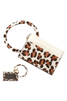 S23-11-3-FK0204GDWHT - LEATHER ANIMALPRINT IDCARD KEYCHAIN - WHITE/6PCS