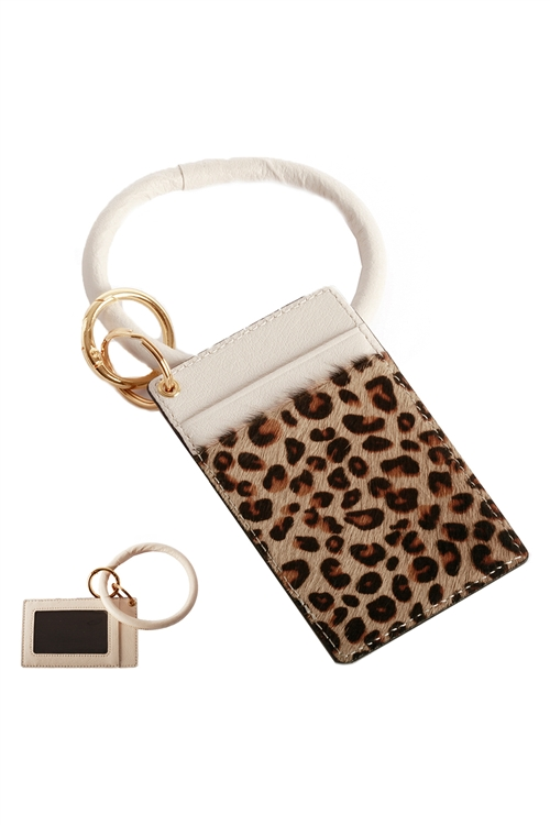 S23-11-3-FK0270GDBEG - LEATHER LEOPARD IDCARD KEY CHAIN - BEIGE/6PCS