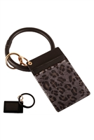 S23-11-3-FK0270GDBLK - LEATHER LEOPARD IDCARD KEY CHAIN - BLACK/6PCS