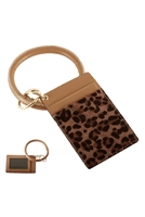 S23-11-3-FK0270GDBRN - LEATHER LEOPARD IDCARD KEY CHAIN - BROWN/6PCS